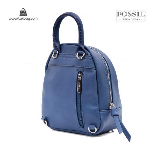 کوله پشتی زنانه کد TB-6145 برند فسیل رنگ آبی از پشت ( fossil tb-6145 )