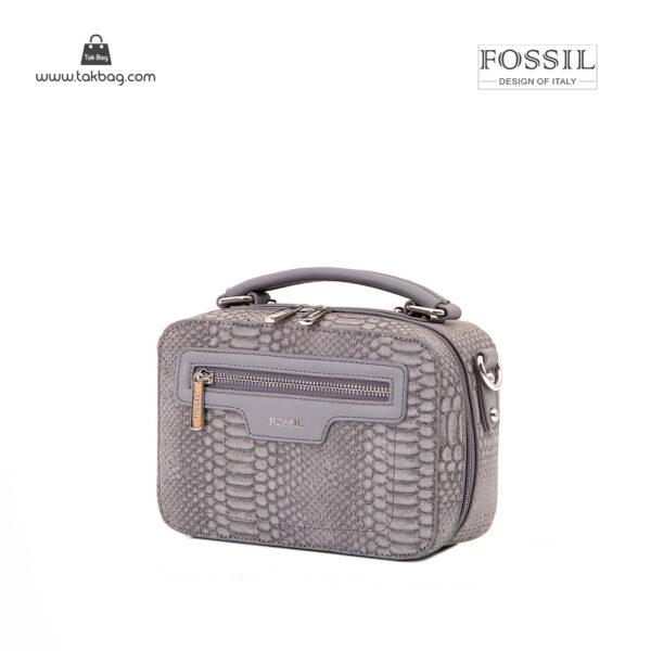 کیف رودوشی زنانه کد TB-6146 برند فسیل رنگ طوسی از جلو ( fossil tb-6146 )