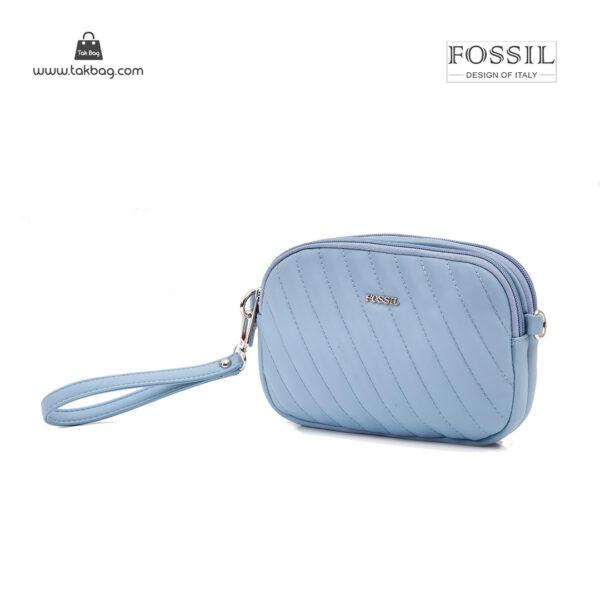 کیف رودوشی زنانه کد TB-6149 برند فسیل رنگ آبی از جلو ( fossil tb-6149 )