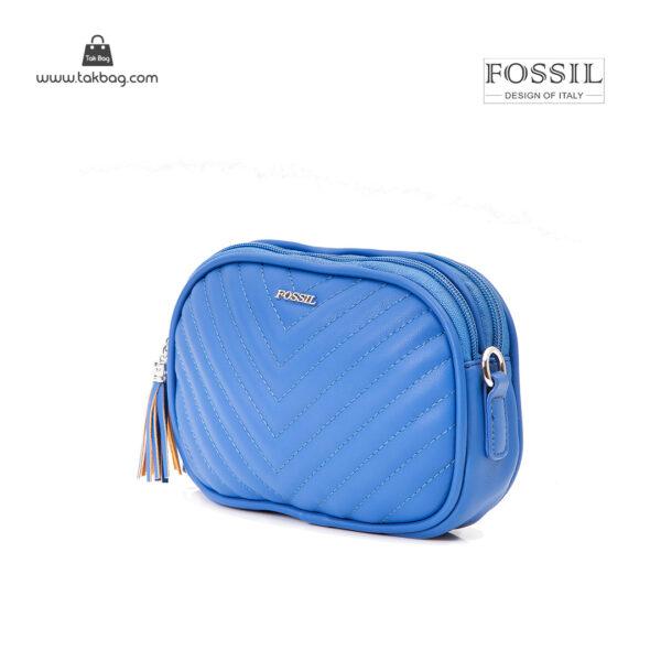 کیف رودوشی کمری زنانه کد TB-6151 برند فسیل رنگ آبی از جلو ( fossil tb-6151 )