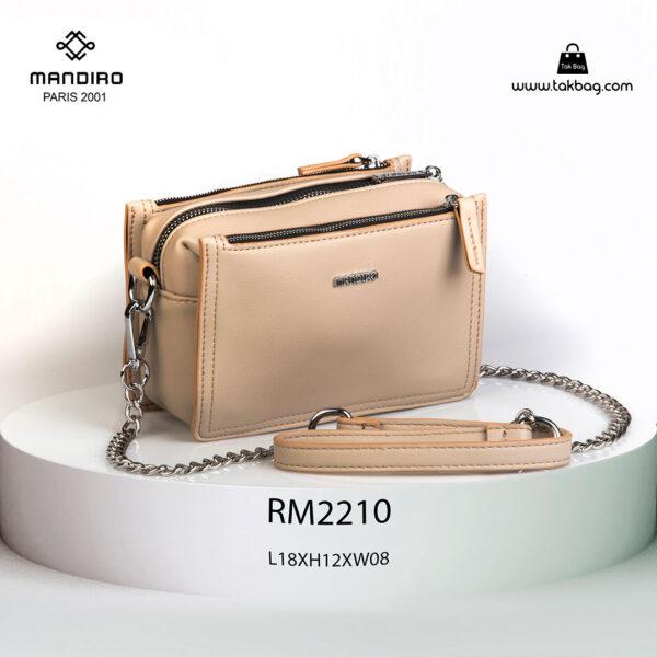 کیف رودوشی زنانه کد RM-2210 برند ماندیرو رنگ کافی از جلو ( mandiro RM-2210 )