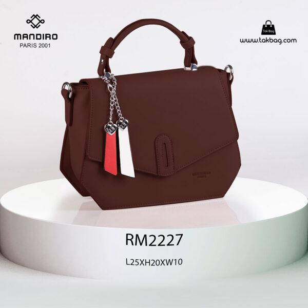 کیف رودوشی زنانه کد RM-2227 برند ماندیرو رنگ کافی از جلو ( mandiro RM-2227 )