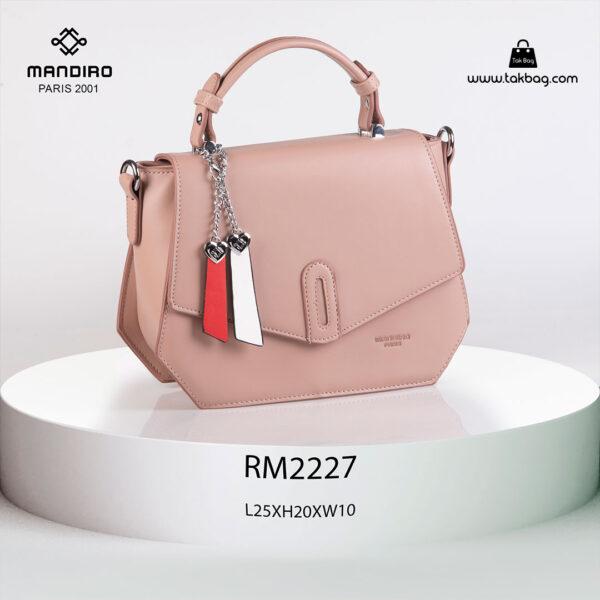 کیف رودوشی زنانه کد RM-2227 برند ماندیرو رنگ صورتی از جلو ( mandiro RM-2227 )
