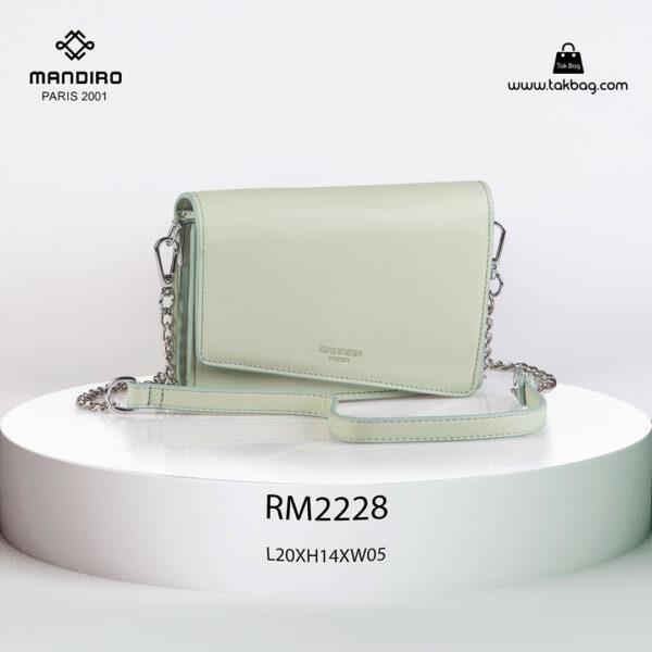 کیف رودوشی زنانه کد RM-2228 برند ماندیرو رنگ سبز از جلو ( mandiro RM-2228 )