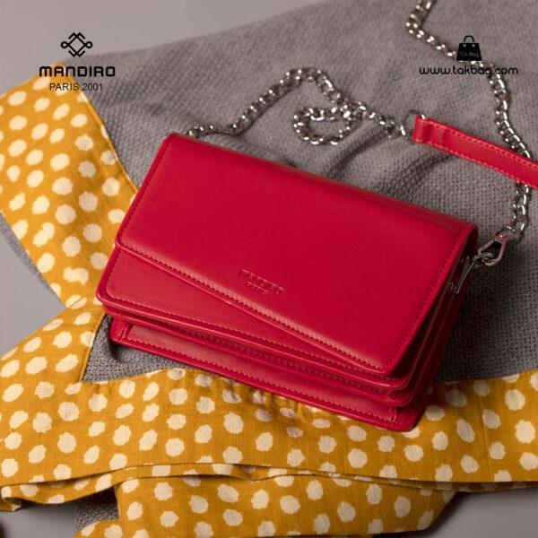 کیف رودوشی زنانه کد RM-2228 برند ماندیرو رنگ قرمز فانتزی ( mandiro RM-2228 )