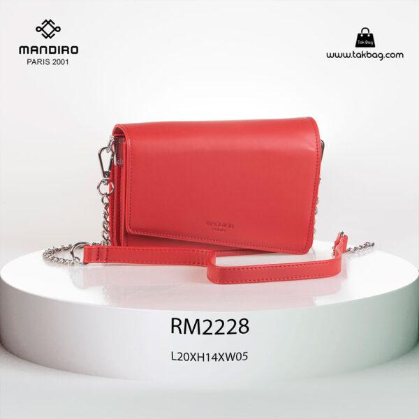کیف رودوشی زنانه کد RM-2228 برند ماندیرو رنگ قرمز از جلو ( mandiro RM-2228 )