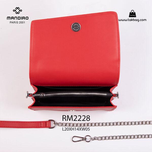 کیف رودوشی زنانه کد RM-2228 برند ماندیرو رنگ قرمز از بالا ( mandiro RM-2228 )