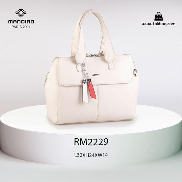 کیف دستی زنانه کد RM-2229 برند ماندیرو رنگ کرم از جلو ( mandiro RM-2229 )