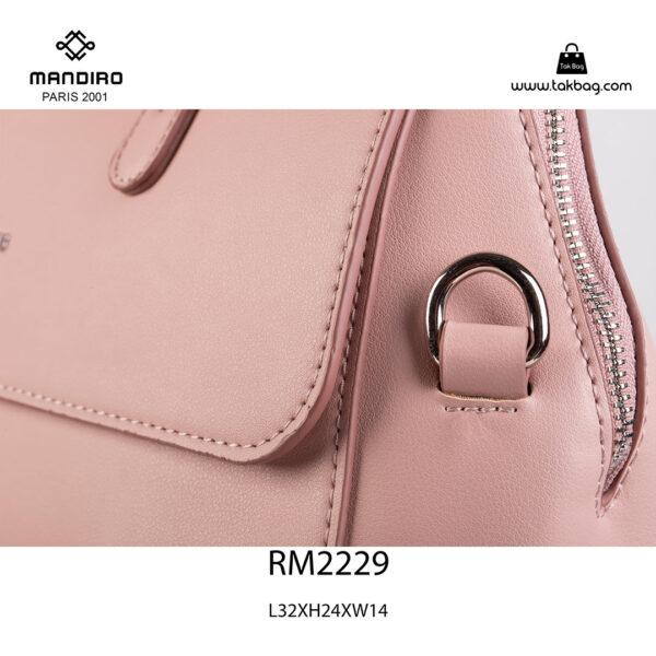 کیف دستی زنانه کد RM-2229 برند ماندیرو رنگ صورتی از نزدیک ( mandiro RM-2229 )