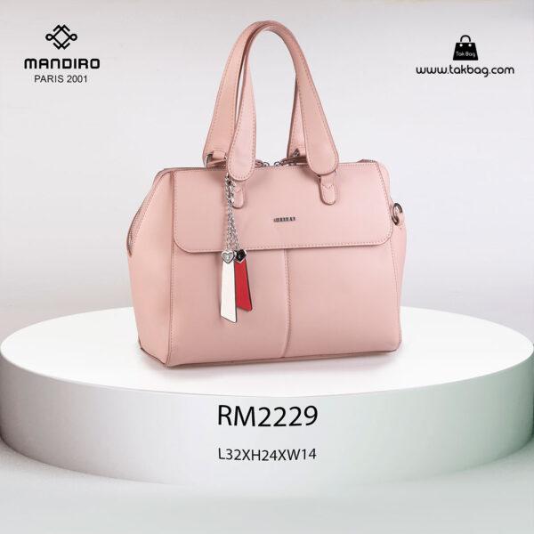 کیف دستی زنانه کد RM-2229 برند ماندیرو رنگ صورتی از جلو ( mandiro RM-2229 )