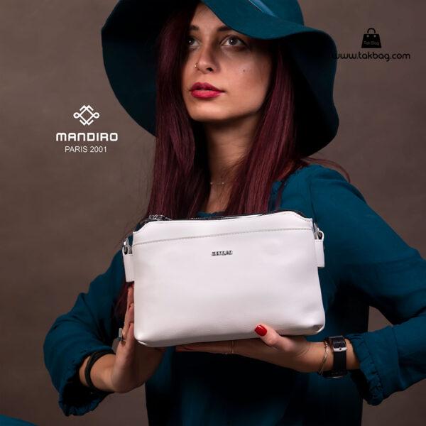 کیف رودوشی زنانه کد RM-2224 برند ماندیرو رنگ سفید با مدل ( mandiro RM-2224 )