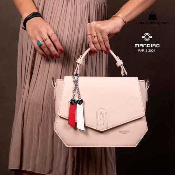 کیف رودوشی زنانه کد RM-2227 برند ماندیرو رنگ کرم با مدل ( mandiro RM-2227 )