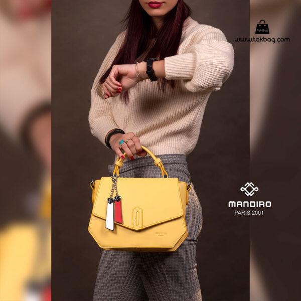کیف رودوشی زنانه کد RM-2227 برند ماندیرو رنگ زرد با مدل ( mandiro RM-2227 )