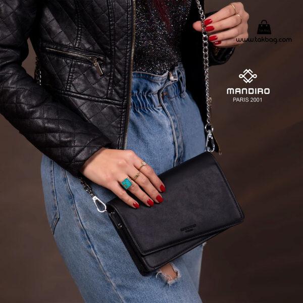 کیف رودوشی زنانه کد RM-2228 برند ماندیرو رنگ مشکی با مدل ( mandiro RM-2228 )