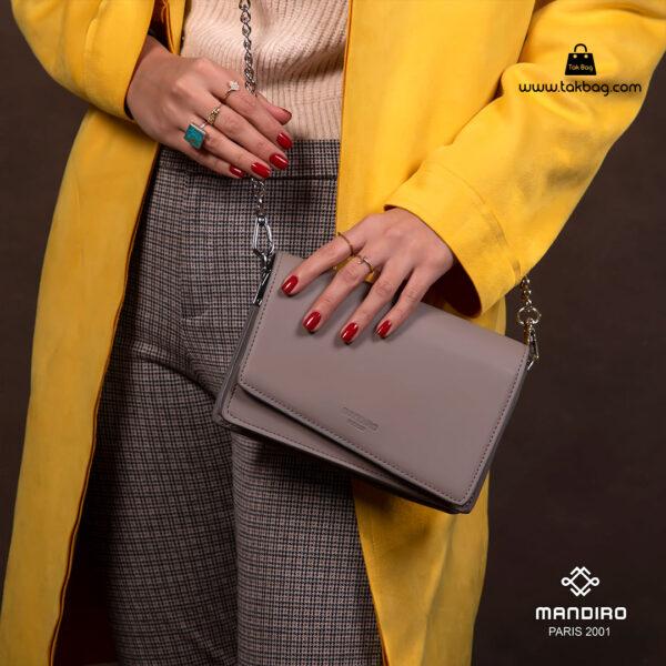کیف رودوشی زنانه کد RM-2228 برند ماندیرو رنگ طوسی با مدل ( mandiro RM-2228 )