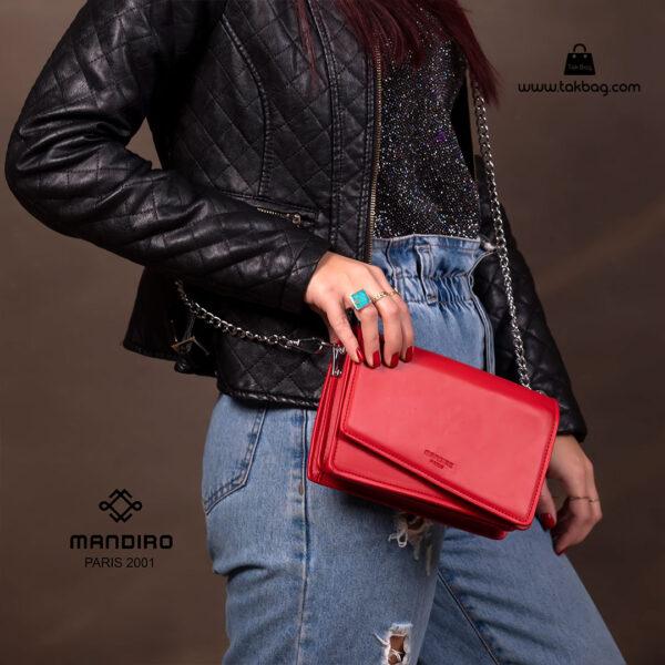کیف رودوشی زنانه کد RM-2228 برند ماندیرو رنگ قرمز با مدل ( mandiro RM-2228 )