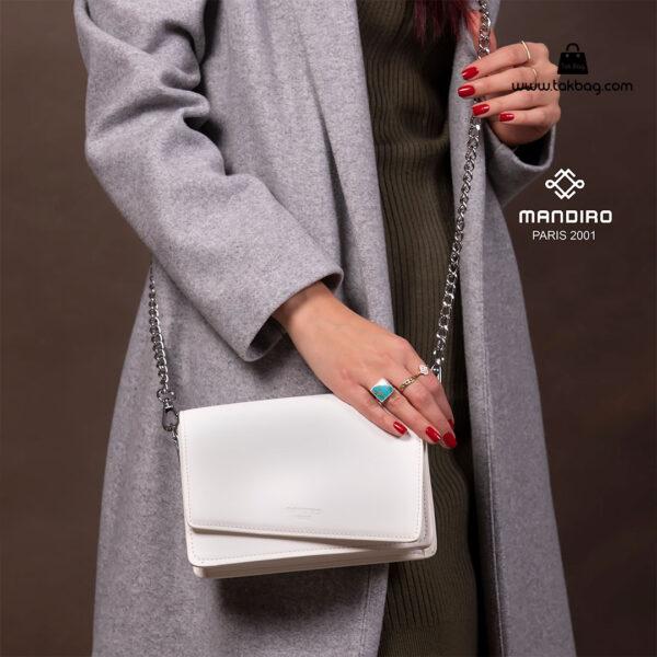 کیف رودوشی زنانه کد RM-2228 برند ماندیرو رنگ سفید با مدل ( mandiro RM-2228 )