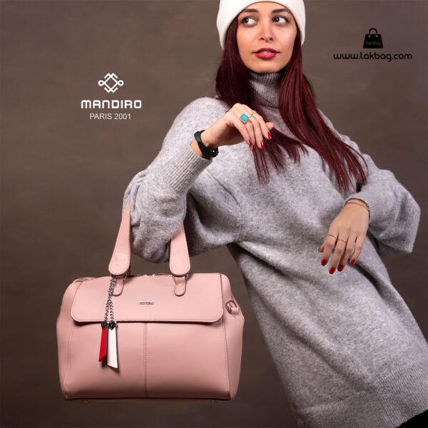 کیف دستی زنانه کد RM-2229 برند ماندیرو رنگ صورتی با مدل ( mandiro RM-2229 )