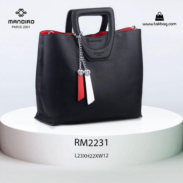 کیف دستی زنانه کد RM-2231 برند ماندیرو رنگ مشکی از جلو ( mandiro RM-2231 )