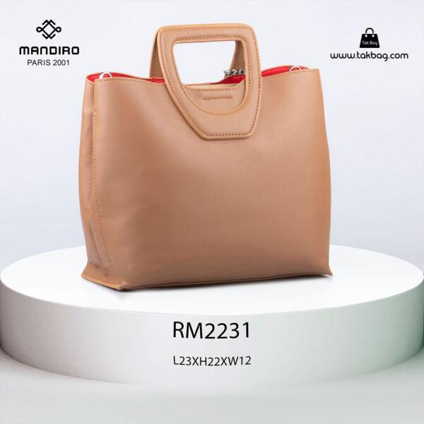کیف دستی زنانه کد RM-2231 برند ماندیرو رنگ کافی از پشت ( mandiro RM-2231 )