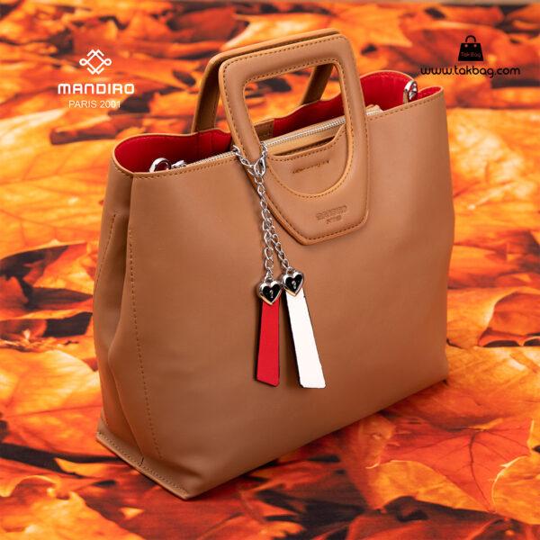 کیف دستی زنانه کد RM-2231 برند ماندیرو رنگ کافی فانتزی ( mandiro RM-2231 )