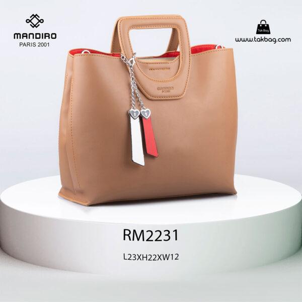 کیف دستی زنانه کد RM-2231 برند ماندیرو رنگ کافی از جلو ( mandiro RM-2231 )