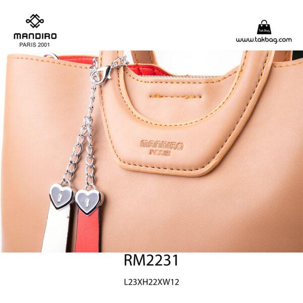 کیف دستی زنانه کد RM-2231 برند ماندیرو رنگ کافی از نزدیک ( mandiro RM-2231 )