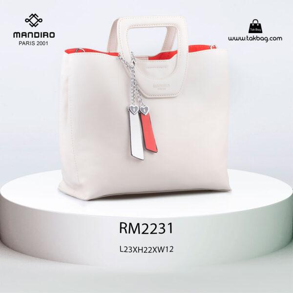 کیف دستی زنانه کد RM-2231 برند ماندیرو رنگ کرم از جلو ( mandiro RM-2231 )