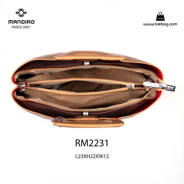 کیف دستی زنانه کد RM-2231 برند ماندیرو رنگ قهوه ای از جلو ( mandiro RM-2231 )