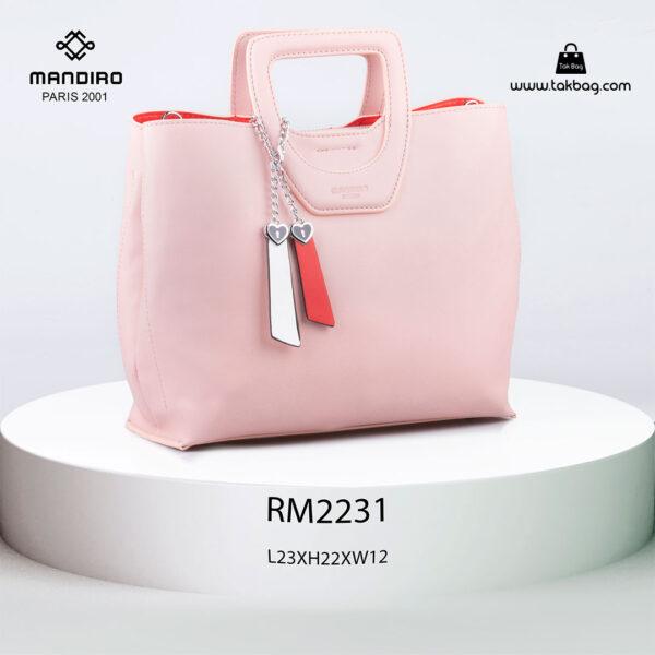 کیف دستی زنانه کد RM-2231 برند ماندیرو رنگ صورتی از جلو ( mandiro RM-2231 )