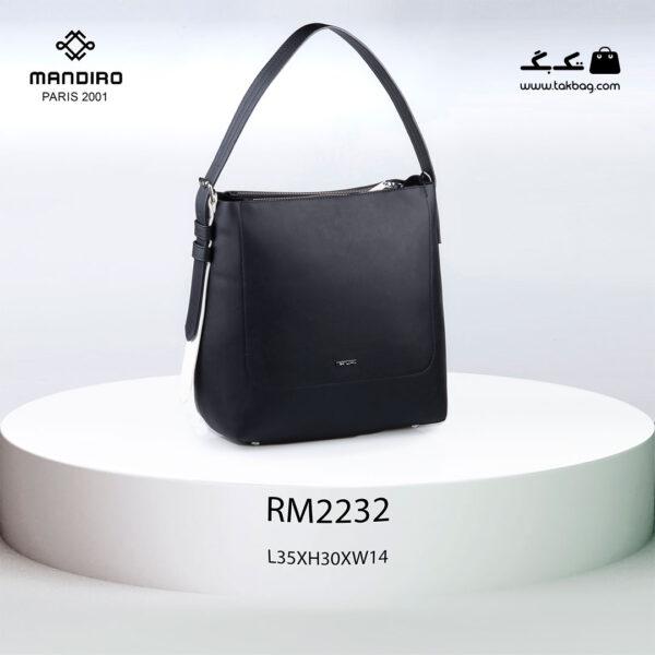 کیف دستی زنانه کد RM-2232 برند ماندیرو رنگ مشکی از جلو ( mandiro RM-2232 )