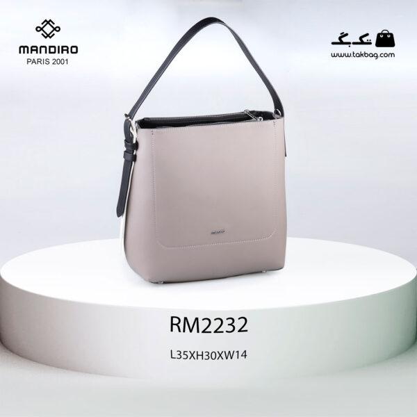 کیف دستی زنانه کد RM-2232 برند ماندیرو رنگ طوسی از جلو ( mandiro RM-2232 )