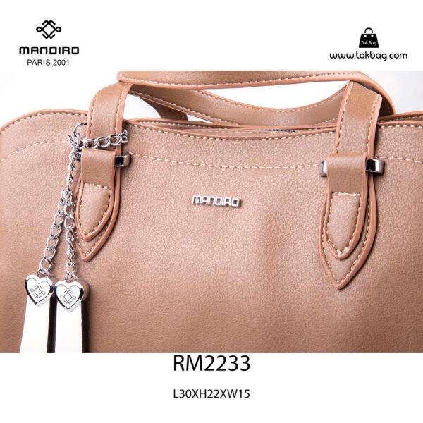 کیف دستی زنانه کد RM-2233 برند ماندیرو رنگ کافی از نزدیک ( mandiro RM-2233 )