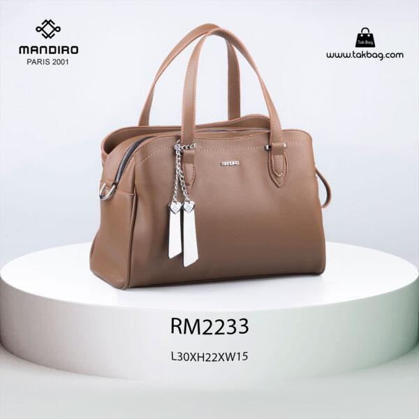 کیف دستی زنانه کد RM-2233 برند ماندیرو رنگ کافی از جلو ( mandiro RM-2233 )