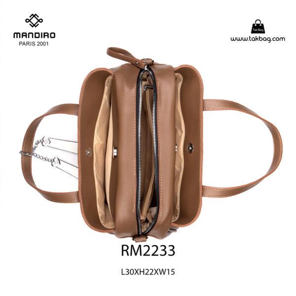 کیف دستی زنانه کد RM-2233 برند ماندیرو رنگ کافی از بالا ( mandiro RM-2233 )