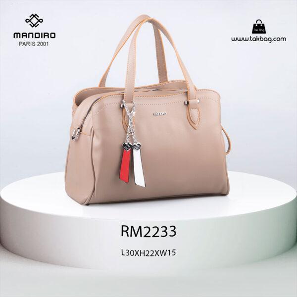 کیف دستی زنانه کد RM-2233 برند ماندیرو رنگ کرم از جلو ( mandiro RM-2233 )