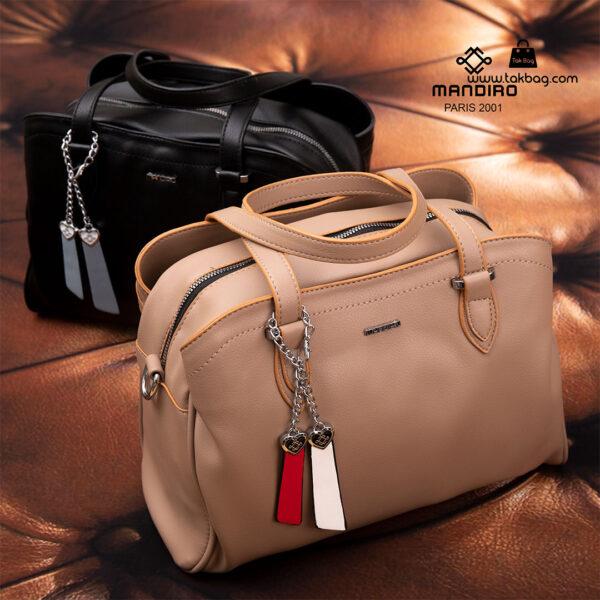 کیف دستی زنانه کد RM-2233 برند ماندیرو رنگ کافی مشکی از جلو ( mandiro RM-2233 )