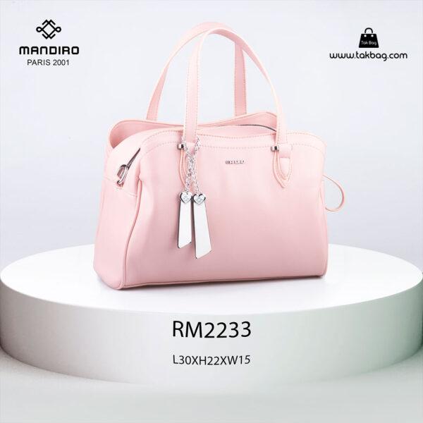 کیف دستی زنانه کد RM-2233 برند ماندیرو رنگ صورتی از جلو ( mandiro RM-2233 )