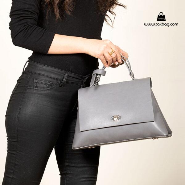 کیف رودوشی زنانه کد RM-2236 برند ماندیرو رنگ طوسی با مدل ( mandiro RM-2236 )