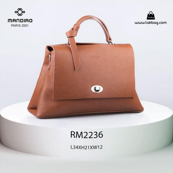کیف رودوشی زنانه کد RM-2236 برند ماندیرو رنگ قهوه ای از جلو ( mandiro RM-2236 )