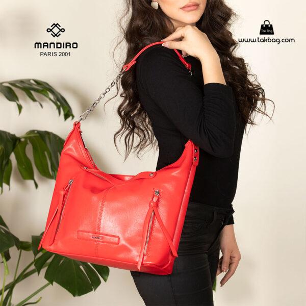 کیف رودوشی زنانه کد RM-2237 برند ماندیرو رنگ قرمز با مدل ( mandiro RM-2237 )