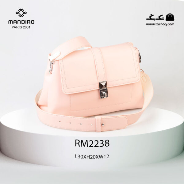 کیف رودوشی زنانه کد RM-2238 برند ماندیرو رنگ صورتی از جلو ( mandiro RM-2238 )