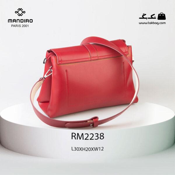 کیف رودوشی زنانه کد RM-2238 برند ماندیرو رنگ قرمز از پشت ( mandiro RM-2238 )