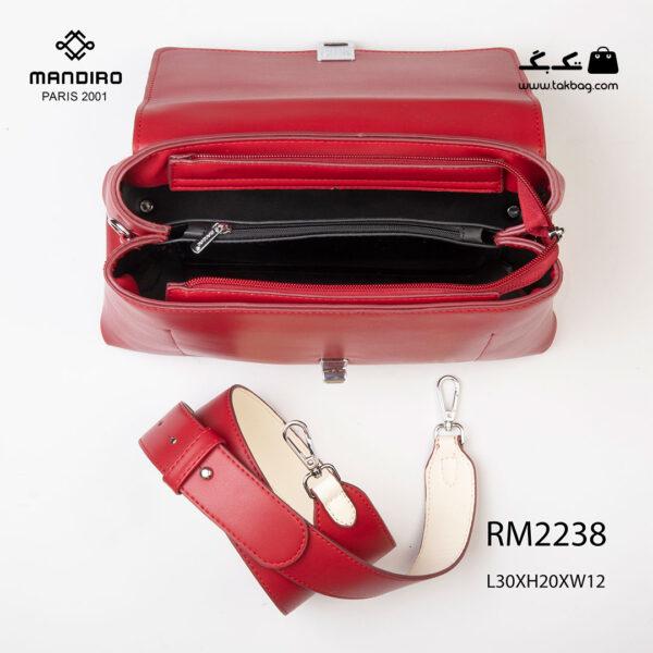 کیف رودوشی زنانه کد RM-2238 برند ماندیرو رنگ قرمز از بالا ( mandiro RM-2238 )