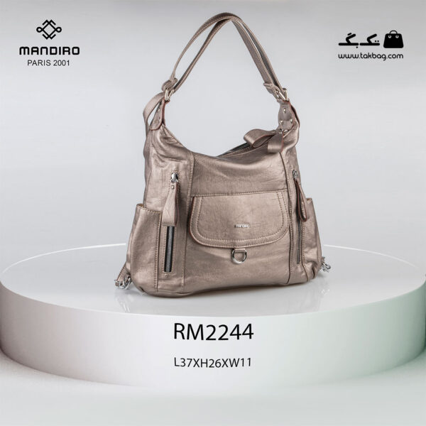 کیف رودوشی زنانه کد RM-2244 برند ماندیرو رنگ بژ از جلو ( mandiro RM-2244 )