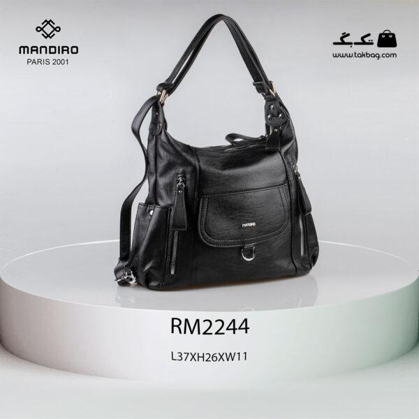 کیف رودوشی زنانه کد RM-2244 برند ماندیرو رنگ مشکی از جلو ( mandiro RM-2244 )
