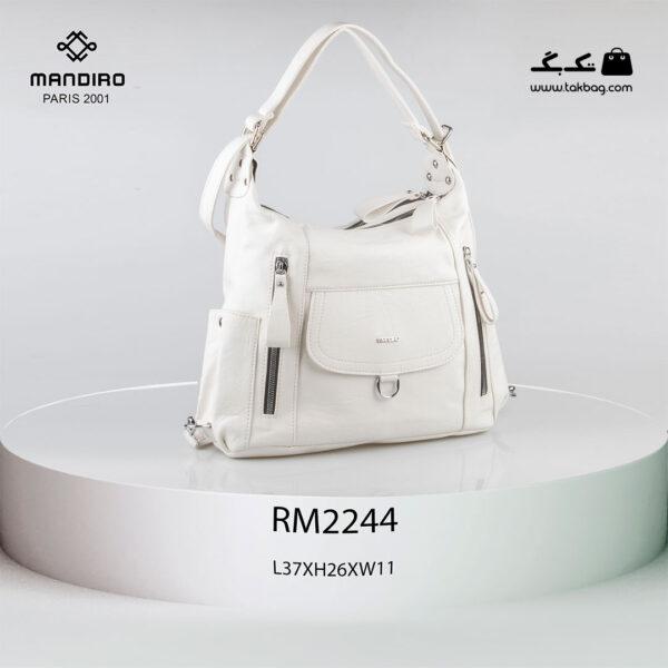 کیف رودوشی زنانه کد RM-2244 برند ماندیرو رنگ سفید از جلو ( mandiro RM-2244 )