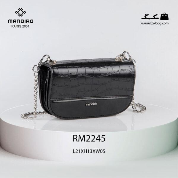 کیف رودوشی زنانه کد RM-2245 برند ماندیرو رنگ مشکی از جلو ( mandiro RM-2245 )