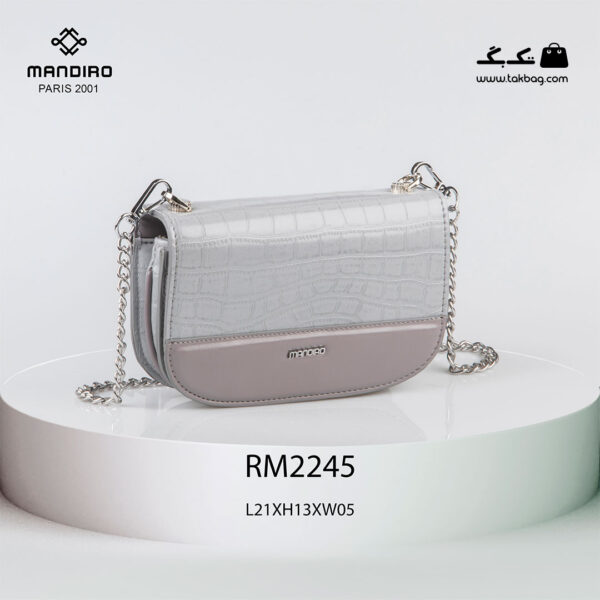 کیف رودوشی زنانه کد RM-2245 برند ماندیرو رنگ طوسی از جلو ( mandiro RM-2245 )