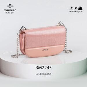 کیف رودوشی زنانه کد RM-2245 برند ماندیرو رنگ صورتی از جلو ( mandiro RM-2245 )